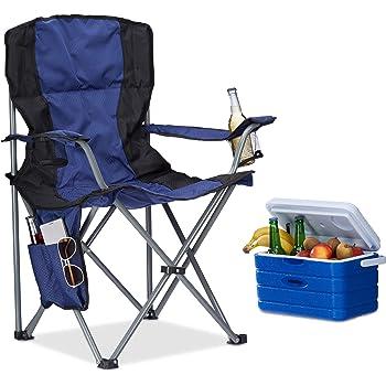 Homecall Chaise de camping pliable en aluminium avec dossier Bleu
