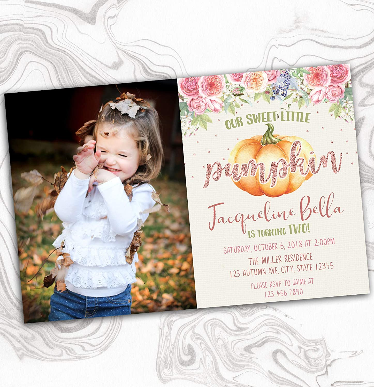Pumpkin Birthday Invitation - Floral M Outlet SALE Regular store Photo Invite Watercolor
