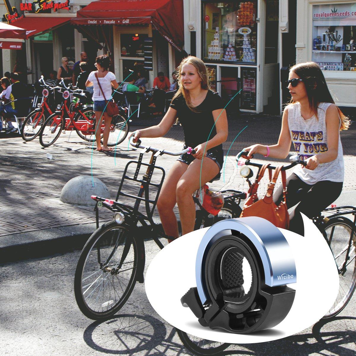 Timbre de bicicleta Bike Bell, Wrcibo Aluminio Timbre de Ciclismo Q diseño invisible para 24 - 31,8mm manillares Accesorios clásicos duradera bicicleta Bell - Azul: Amazon.es: Deportes y aire libre