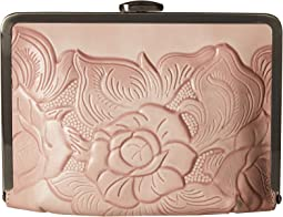 White Waxed Tooled Rose Cariati Clutch