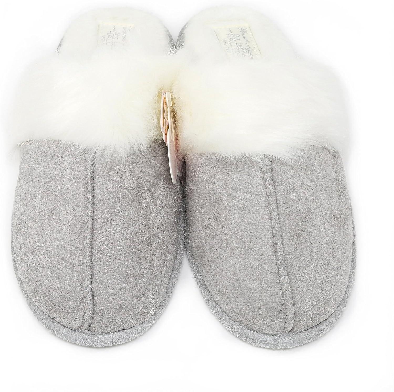 Elliz Women's Cozy Suede Memory Foam Anti-Slip House Slippers