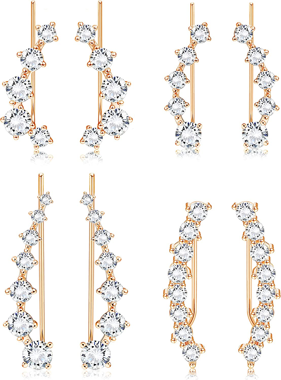 YADOCA 4 Pairs Ear Climber Crawler Cuff Earrings Set Cubic Zirconia Cuff Earrings Dainty Stud Ear Climber Jackets