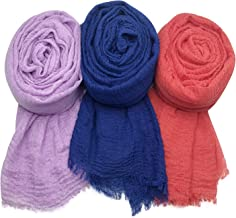 MANSHU 3PCS Women Soft Cotton Hemp Scarf Shawl Long Scarves, Big Head Scarves, Scarf and Wrap