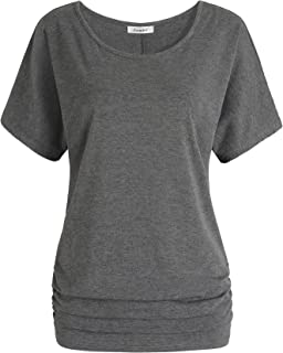 Women's Short Sleeves Dolman Top Scoop Neck Drape Shirt