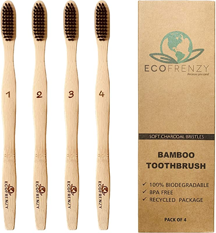 EcoFrenzy Bamboo Toothbrush Soft BPA Free Charcoal Bristles Biodegradable Pack Of 4