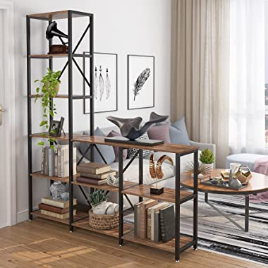 Tribesigns 9 Shelves Bookshelves, Industrial Ladder Corner Etagere Bookcase, Rustic 6-Tier Display Shelf Storage Organizer fo