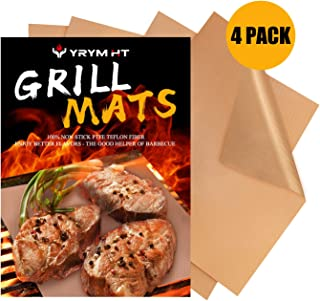 YRYM HT Copper Grill Mats -Set of 4 Non Stick Heavy Duty Grill Mats-Reusable and Easy to Clean Barbecue Grilling Mats