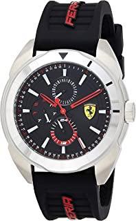 Ferrari Forza, Quartz Stainless Steel and Silicone Strap Casual Watch, Black, Men, 830546