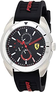 Scuderia Ferrari Men's Forza Stainless Steel Quartz Watch with Silicone Strap, Black, 22 (Model: 0830546)