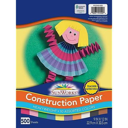 "SunWorks Construction Paper, 10 Assorted Colors, 9"" x 12"", 500 Sheets, PCON01500"