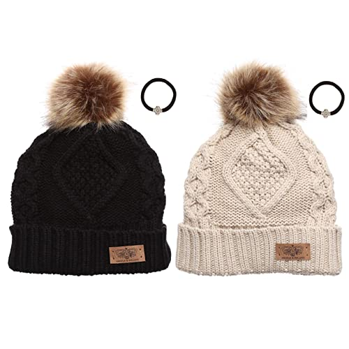 a13d86369df ANGELA   WILLIAM Women s Winter Fleece Lined Cable Knitted Pom Pom Beanie  Hat with Hair Tie