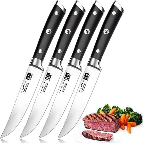SHAN ZU Couteaux à Steak, Couteaux de Table 4 Pièces, Set Couteaux a Steack Acier Inoxydable Allemand, Coffret Couver...