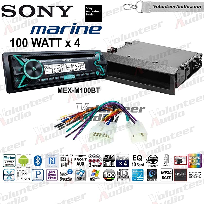 Sony MEX-M100BT Single Din Marine Radio Install Kit With Sirius XM Ready, CD Player, 100W Built-In Amp Fits 2003-2009 Non Amplified Toyota Prius