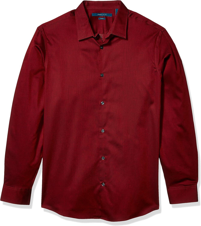 Perry Ellis Men's Dobby Solid Resist Spill Shirt