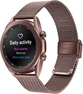 TRUMiRR Watchband for Galaxy Watch3 41mm Mystic Bronze, Mesh Woven Stainless Steel Watch Band Quick Release Strap Replacem...