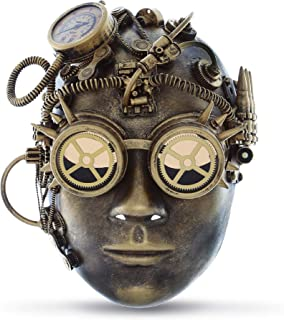 Attitude Studio Steampunk Mechanical Human Full Face Mask Goggles Costume - Gold