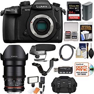 Panasonic Lumix DC-GH5 Wi-Fi 4K Digital Camera Body with 35mm T/1.5 Cine Lens + 64GB Card + Case + LED Light + Microphone + Kit