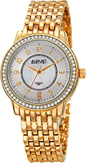 August Steiner AS8246 Crystal Women's Watch – Designer Stainless Steel Band – Mother of Pearl Diamonds
