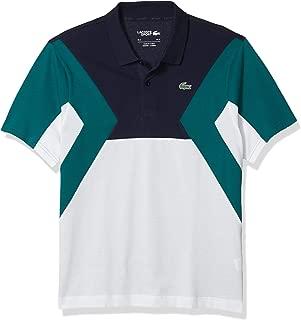 Mens Sport Short Sleeve Color Block Cotton Polo Shirt