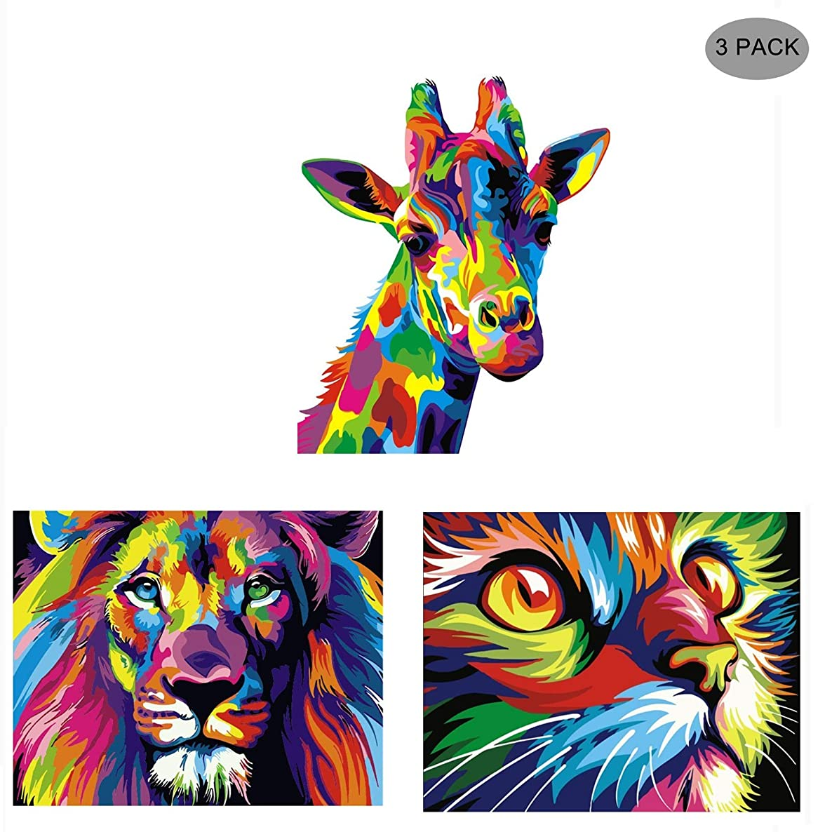 5D Diamond Painting Kit Full Drill,Annomor DIY Diamond Rhinestone Painting Kits Embroidery Arts Craft,Home and Office Wall Decor or Birthday, Anniversary, Wedding Gift (3 Pack-Colorful Lion,Cat,Deer)