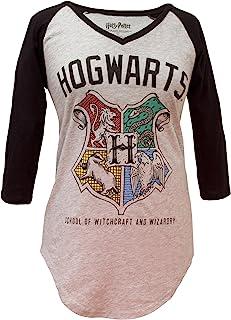 HARRY POTTER Hogwarts Crest V-Neck Juniors Raglan