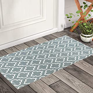 OJIA Moroccan Cotton Area Rug,2 x 4ft Grey and White Geometric Modern Trellis Decorative Throw Rug Outdoor Mat Front Porch...