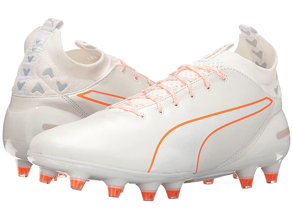 PUMA evoTouch Pro FG (Puma White/Puma White/Shocking Orange) Men