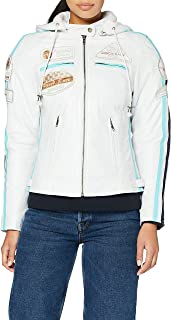 Urban Leather 58 Leren Bikerjack, Chaqueta de Moto para Mujer, Blanco (White), 42 / XL