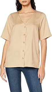 PIECES PCMARYLEE SS V-NECK TOP BC dames bloes