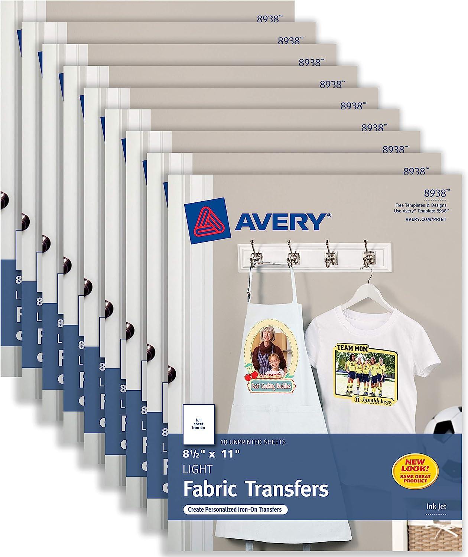Avery T-Shirt Transfers for Inkjet Printers, For Light Fabric, 8