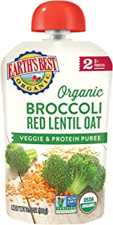 Earth's Best Organic Stage 2, Broccoli, Red Lentil & Oat, 3.5 Ounce Pouch (Pack of 12)