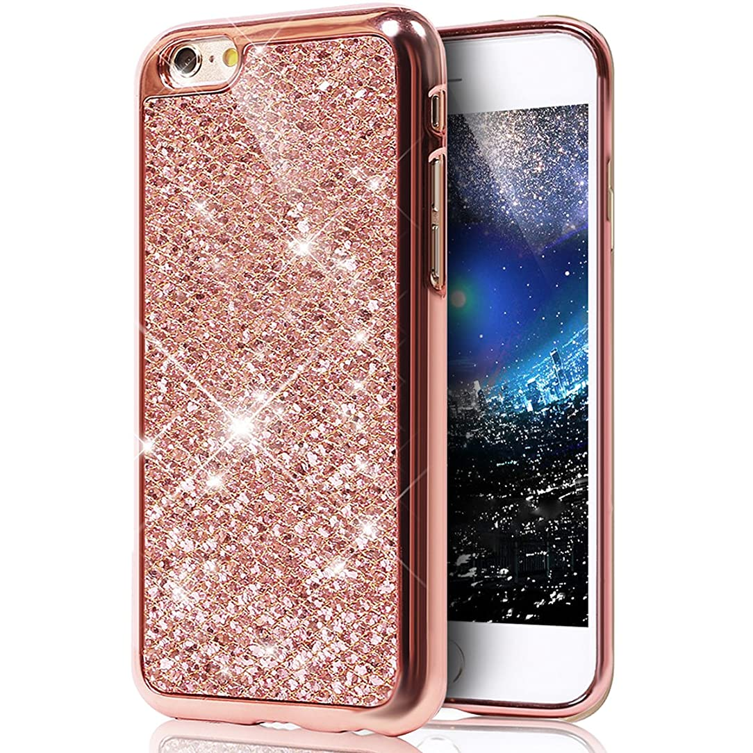 iPhone 6S Plus Case,[Glitter TPU Case] ikasus Ultra-Slim Scratch-Resistant Shiny Sparkle Bling Glitter Electroplated Bumper Soft TPU Silicone Rubber Protective Case for iPhone 6S Plus/6 Plus,Rose Gold