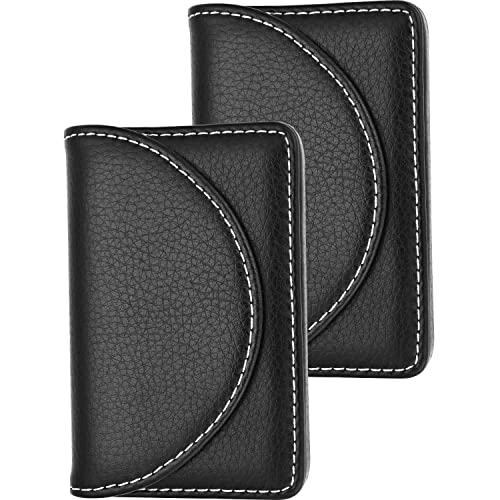 Blulu 2 Pieces PU Leather Business Card Cases Card Holder Wallet Name Card Case with Magnetic Shut for Men and Women (Black)