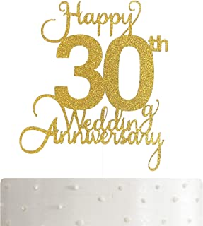 30th Wedding Anniversary Cake Topper, Wedding Anniversary Party Decoration with Premium Gold Glitter