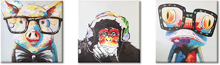Animals Canvas Wall Art, Modern Cartoon Oil Painting Giclee Printing Gorilla Monkey Music Funny Pig Cute Frog Canvas Painting Grey Background Home Decor Animal Prints (12x12inchesx3pcs)