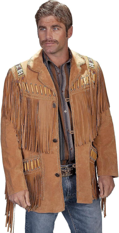 Scully Men's Bone Beaded Fringe Leather Jacket - 902-409