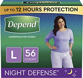 Depend Night Defense Incontinence Underwear for Women, Disposable, Overnight, Large, Blush, 56 Count (4 Packs of 14) (Pack...