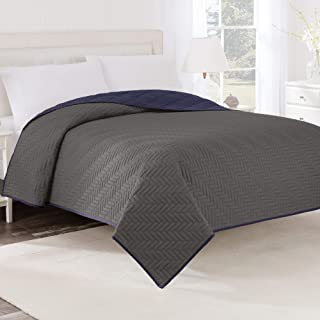 Martex Solid Reversible Coverlet, Twin, Graphite/Navy