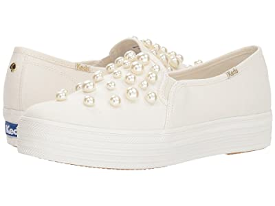 Keds x kate spade new york Bridal Triple Decker Pearl Studs (Pristine Twill/Pearls) Women