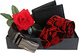 TIED RIBBONS Men's Combo Pack of Tie, Leather Wallet, Belt with Red Rose