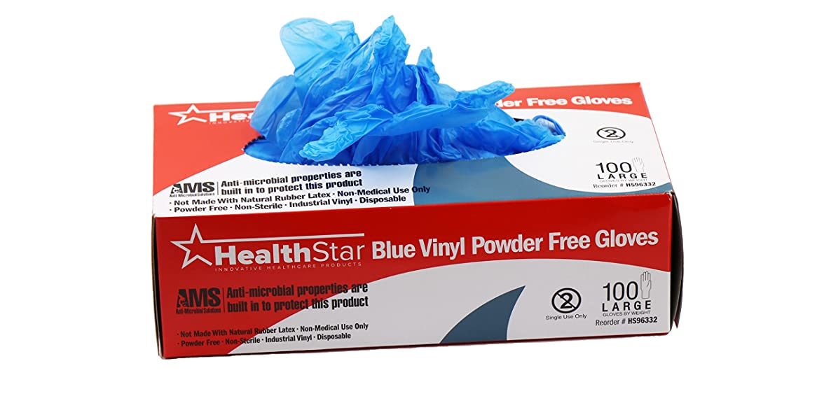 Healthstar Anti-Microbial Vinyl Blue Gloves Medium, Disposable, Powder Free, Industrial Quality, Comfortable (Box of 100)