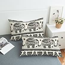 Koongso Boho Mandala Calf Elephant Pillow Cases 2 Pieces Floral Paisley Pattern Printed Pillowcases Indian Hippie Themed Square Bedclothes