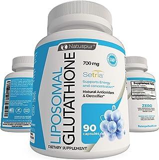 Natuspur Liposomal Glutathione Capsules – 700mg Pure Reduced Setria Glutathione Supplement with Phospholipid Complex for L...
