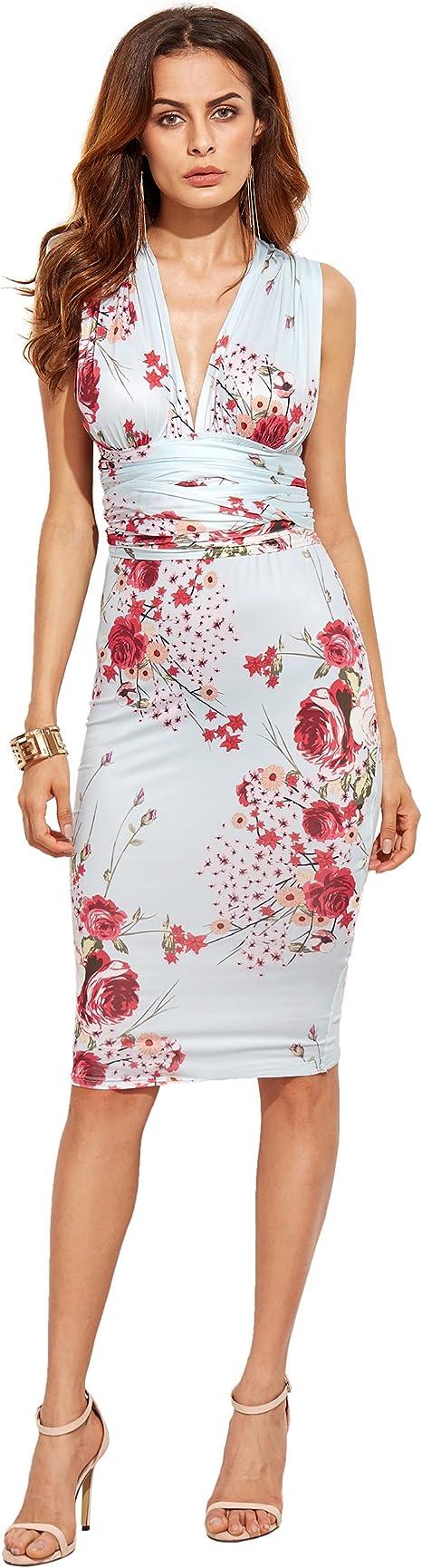 SheIn Damen Etui Kleid Gr. S, mehrfarbig  Amazon.de Bekleidung