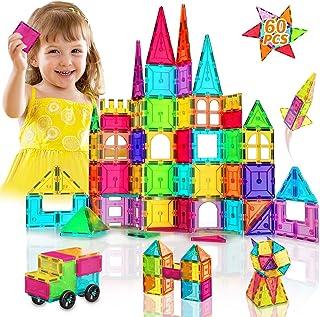 HOMOFY Magnetic Tiles Building Set for Kids New Upgrade 3D Magnetic Blocks Imagination Inspirational Educational Magnetic ...