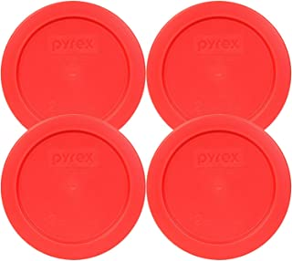 Pyrex 2 Cup Round Storage Cover #7200-pc for Glass Bowls (Pack of 4) - Red Color