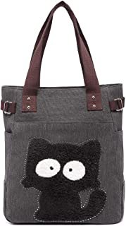 Kaukko Women Canvas Handbag Shoulder Bag Cat Big Tote Bag
