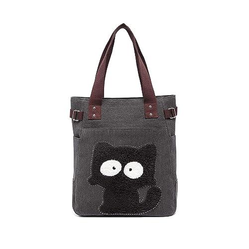 697d44d6a45 Women Canvas Handbag Kaukko Shoulder Bag Cat Big Tote Bag