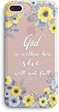 Compatible iPhone 5s SE Case,Cute Flowers Florals Blooms Roses Christian God is Within Her Will Not Fall Psalm Bible Verses Girl Quotes Inspirational Motivational Soft Clear iPhone 5/SE Case