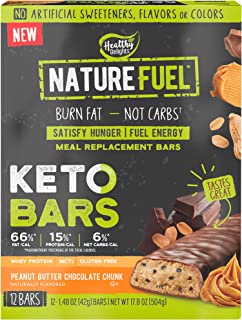 Nature Fuel Keto Bars Meal Replacement Bars with Whey Protein and MCTs, Burn Fat 7 Fuel Energy Peanut Butter Chocolate Chu...